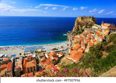 View over Scilla with Castello Ruffo, Calabria, Italy. Focus on the roofs at the right