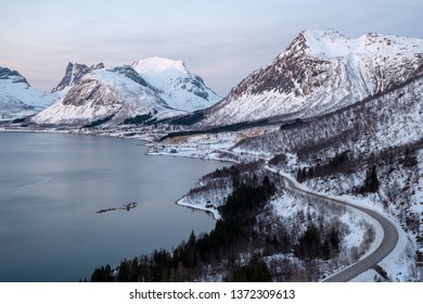 View over Senja in Winter with mountains and fjord, Bergsbotn, Norway