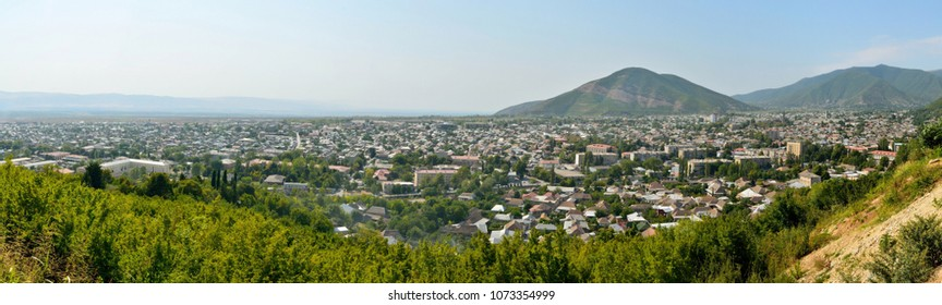 View over Shaki town in Azerbaijan.