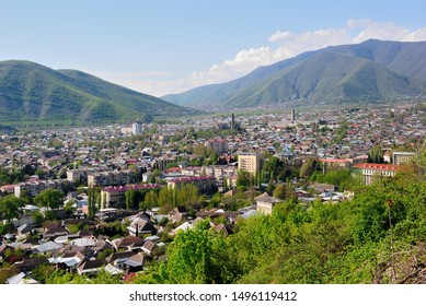 View over Sheki (Shaki) city and the the Greater Caucasus mountains in Azerbaijan