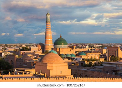 View over the skyline of the ancient city of Khiva at the sunset, Uzbekistan.