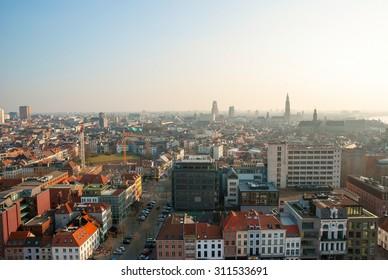 View over skyline of Antwerp, Belgium