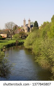 View over small river Rur on basilica of Sint Odilienberg (near Roermond) - Netherlands