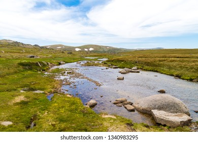 View over Snowy River in Kosciuszko National Park, NSW, Australia. Nature background with plants and vegetation.