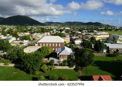 A view over St. Kitts capital, Basseterre, from a high point of view.