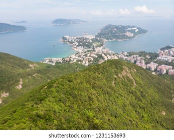 View over the Stanley town from the Wilson hiking trail in the hills in the south of Hong Kong island in China.