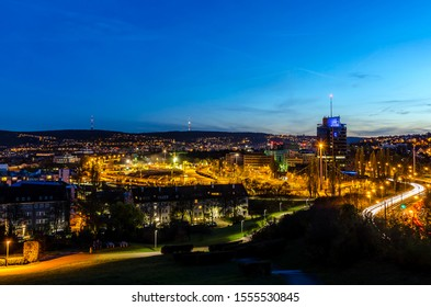 View over Stuttgart at night, Germany