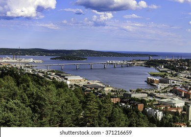 View over Sundsvall, Sweden including the new bridge