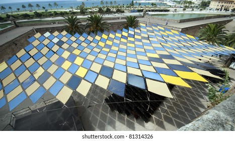 View over sunshade roof and Palma on Majorca