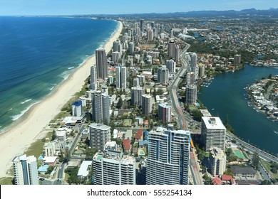 View over Surfers Paradise beaches from Q1 observation deck (tallest residential apartment in the world), Gold Coast, Australia.