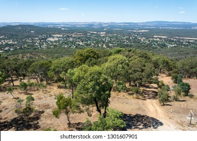View over the surroundings of Maldon, Victoria, Australia, from the top of poppet-head lookout at Mt Tarrengower.