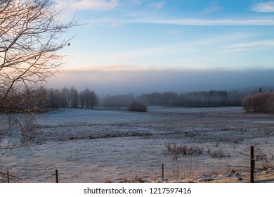 View over a swedish landscape on a frosty morning