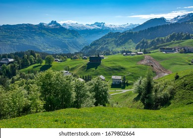 The view over the Swiss mountain village of Stoos.