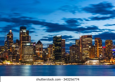 View over Sydney Business District and King Street wharf at night