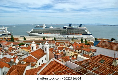 View over the Tagus River from the Santa Luzia viewpoint in Lisbon, Portugal