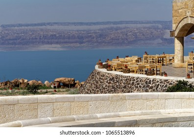 View over the terrace of the museum at the Dead Sea in Jordan with the mountains of Israel on the opposite bank, middle east