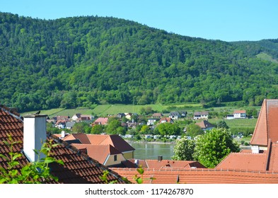 A view over the terracotta roofline of a village in Austria. Houses are on either side of a river. Vineyards are nestled below a forest covered hill. The sky is blue.