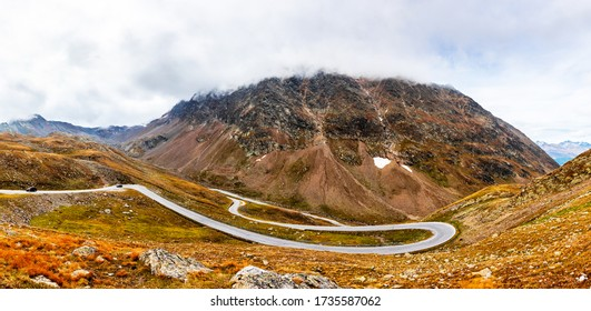 View over the top curves of the Timmelsjoch pass