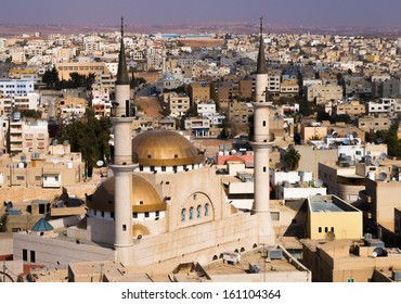 A view over the town center of Madaba in Jordan with the Central Mosque