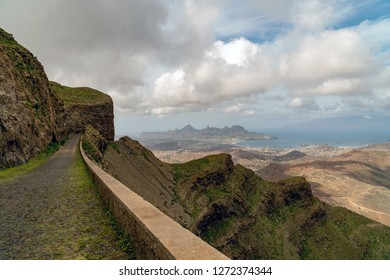 View over the town of Mindelo and surrounding landscape from the road leading up to Monte Verde on Sao Vicente island, Cape Verde