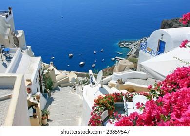 View over town Oia island Santorini, Greece