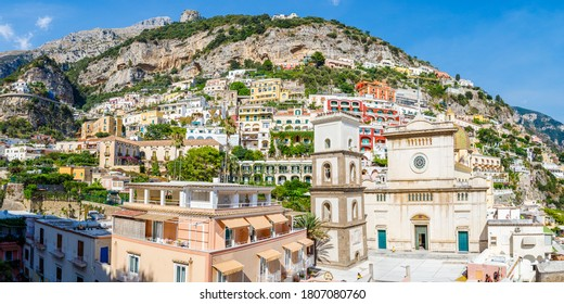 View over the town of Positano on the Amalfi Coast, Italy