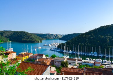 View over the town of Skradin on the Krka river, Croatia