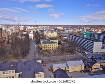 View over town of Vaasa, Finland in late spring with the sea still frozen.