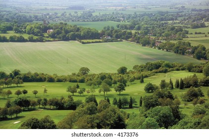 view over the vale of aylesbury and coombe village from coombe hill the ridgeway path chilterns buckinghamshire