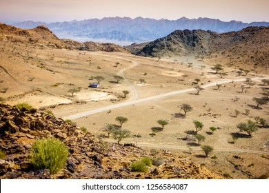 View over valley in Al Hajar mountains in Fujairah, UAE