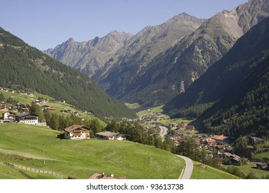 View over the valley in the mountains, Solden Austria