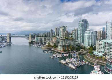 View over Vancouver False creek and Burrard St Bridge