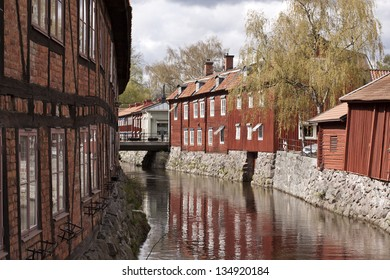 View over Vasteras old town, Sweden showing traditional wooden and brick houses from the 18th-19th century.