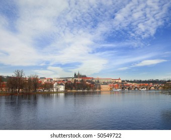 View over the Veltava river on Old Town in Prague.