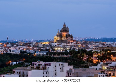 View over Victoria city, Gozo island, Malta vith Rotunda of St. John the Baptist.