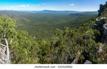 View over Victoria Valley and Lake Wartook from Reed Lookout in the Grampians region of Victoria, Australia.