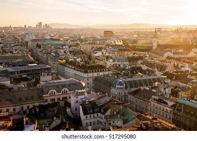 View Over Vienna City at Twilight from St Stephan's Cathedral