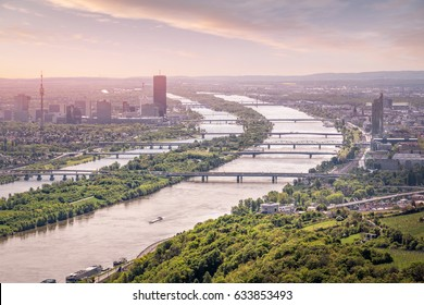 View over Vienna with danube river in summer, Vienna, Austria