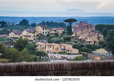 View over village of Montescudaio in Italy