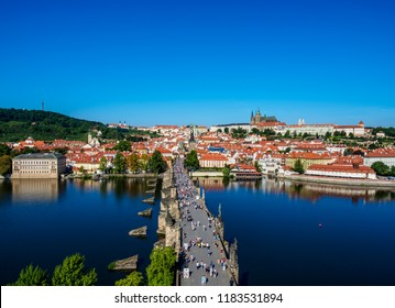 View over Vltava River and Charles Bridge towards Lesser Town and Castle, Prague, Bohemia Region, Czech Republic