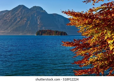 View over the Walchensee in autumn - Germany