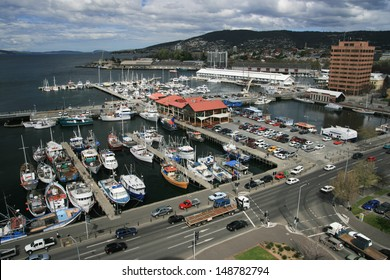 View over the waterfront of Hobart and fishing boats in Hobart, Tasmania, Australia