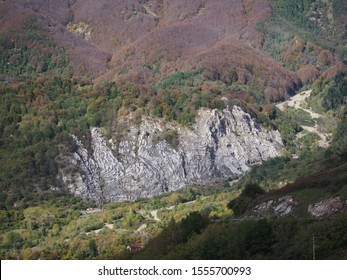 View over the white outcrop of chalk gypsum rock which gives its name to Sassalbo, in the comune of Fivizzano, Lunigiana, Italy.