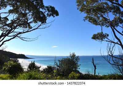 View over white sands and aqua waters in Jervis Bay. Hyams Beach is a seaside village in the Shoalhaven, on the shores of Jervis Bay.