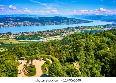 "View over Zurich Lake and alps from famous viewpoint ""Uetliberg"" near Zurich in Switzerland"