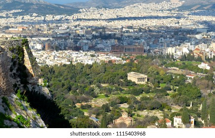 View overlooking Athens with The Ancient Agora in the foreground. Shot from The Acropolis.