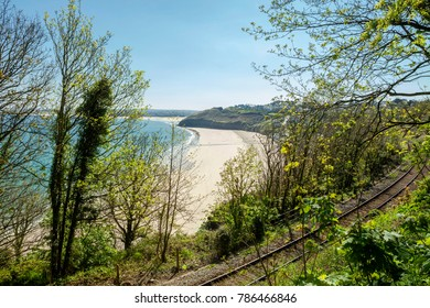 View overlooking Carbis bay in Cornwall and the railway line from the  St Ives Bay Line.