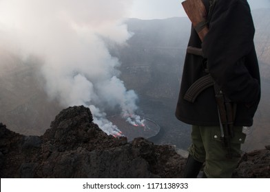 View overlooking crater at top of Mount Nyiragongo, Congo