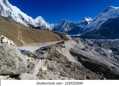 View overlooking Gorak Shep onto Mt Everest, Nuptse and Lutse in Nepal
