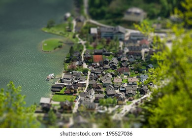 View overlooking Hallstatt town, miniature (tilt-shift) simulation using digital postprocessing